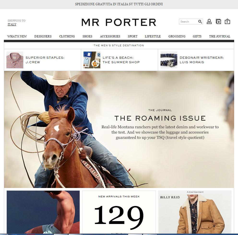 Shopping online su Mr Porter