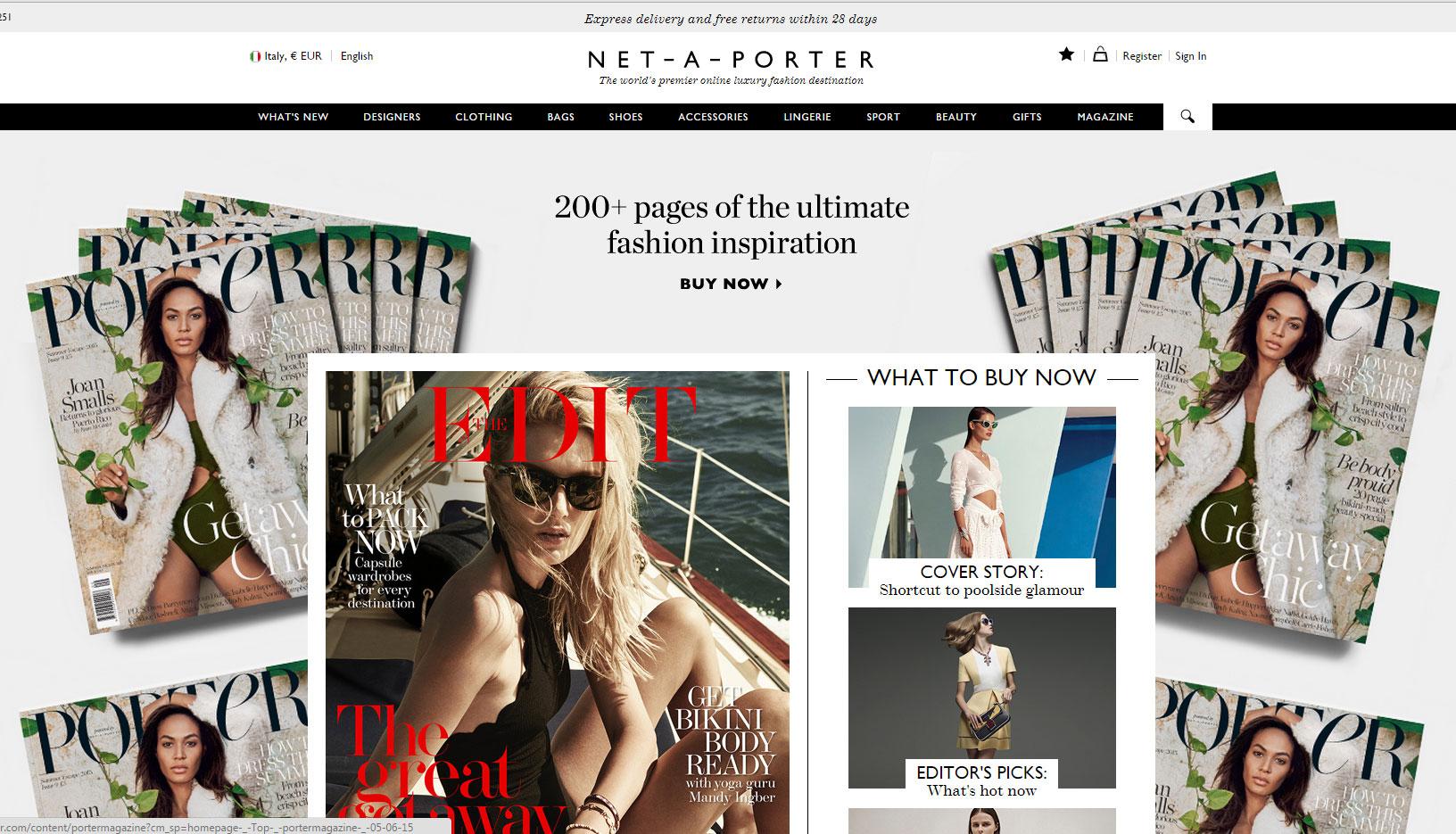 Shopping online su Net a porter