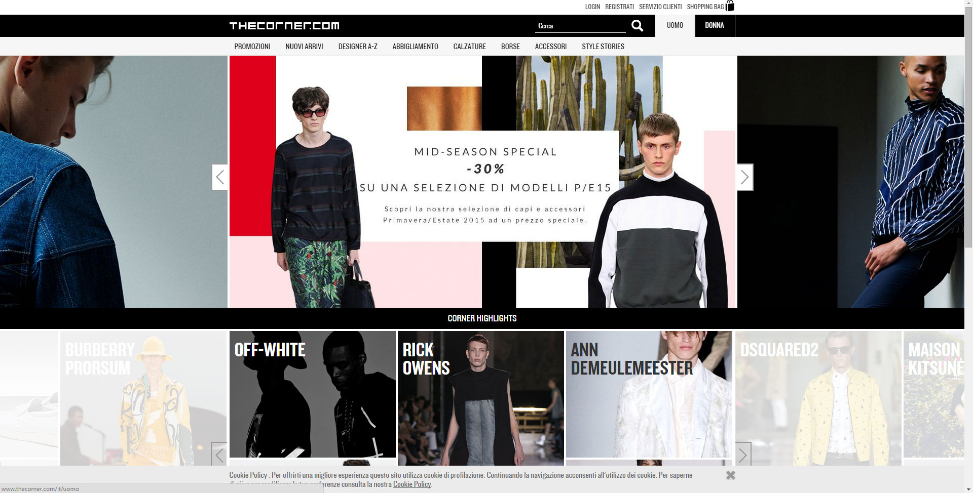 Shopping online su The Corner