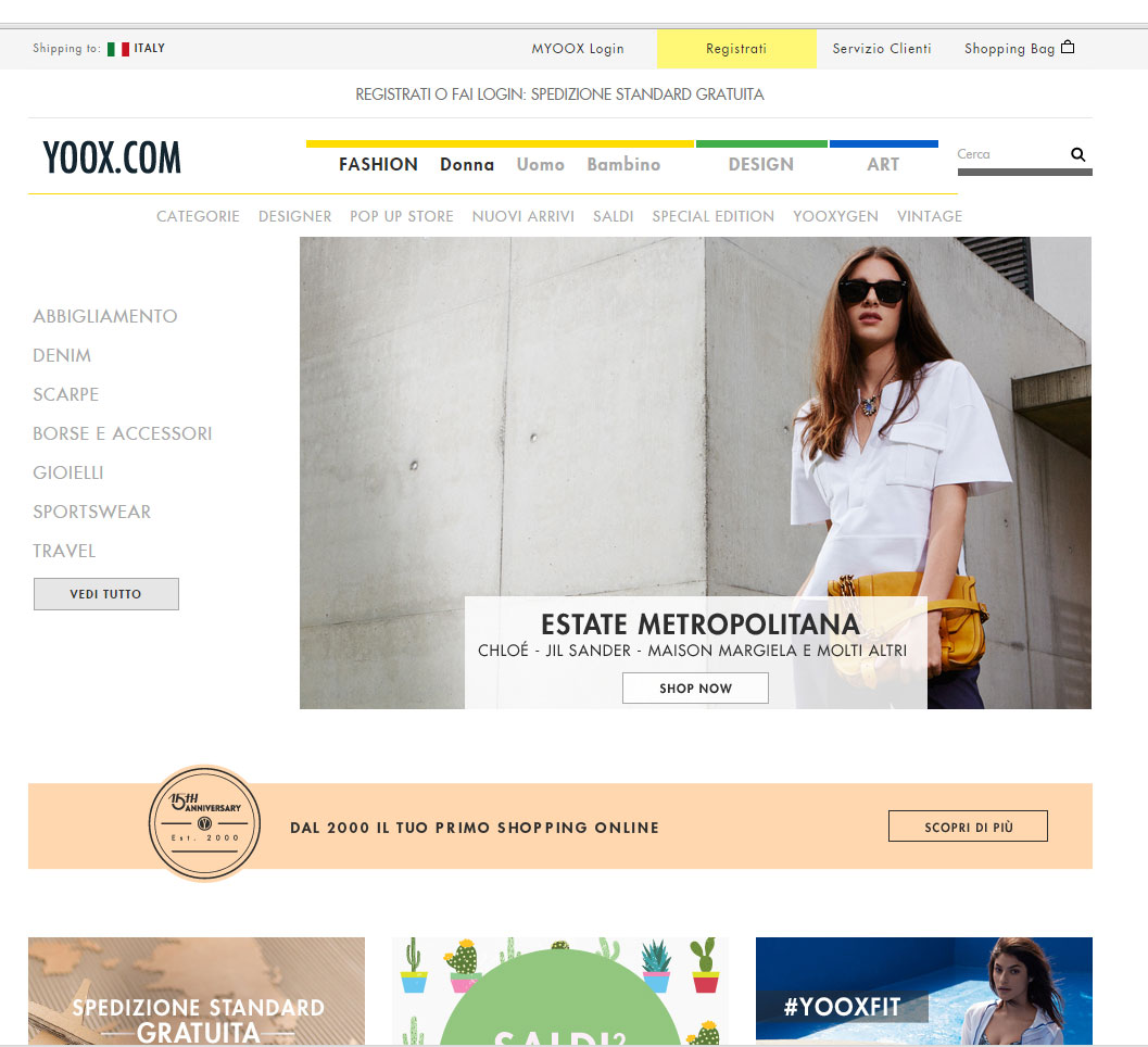 Shopping online su Yoox