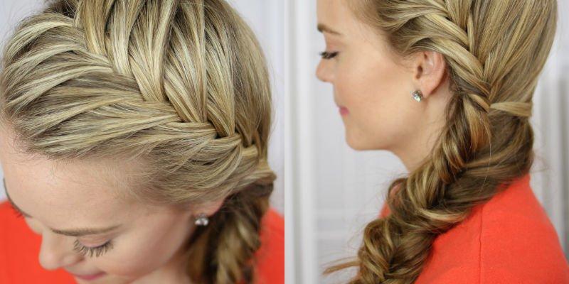 Acconciatura capelli lunghi con treccia laterale