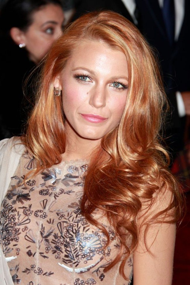 Strawberry blonde hair color blake lively