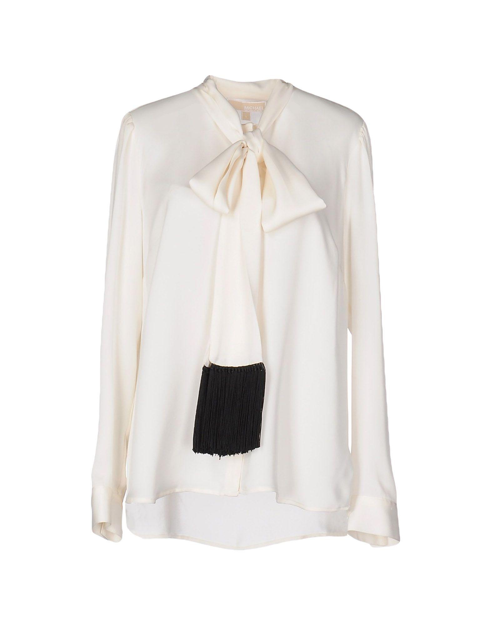 Camicia bianca di seta con fiocco