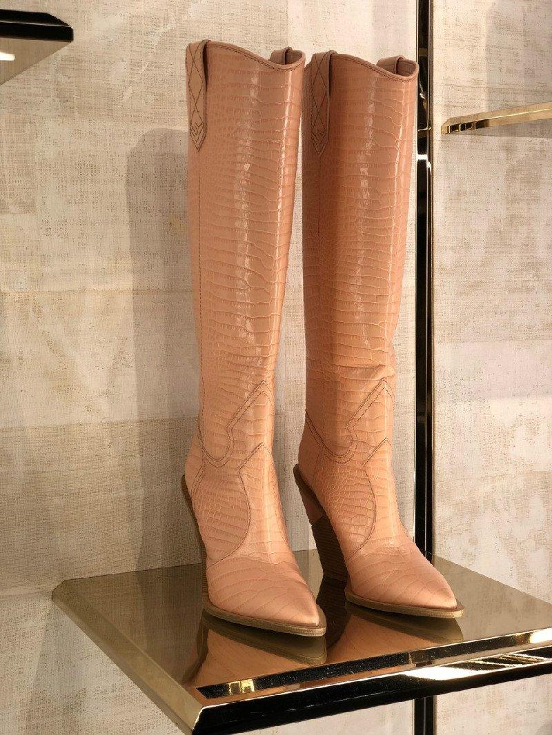 Stivali Fendi alti rosa