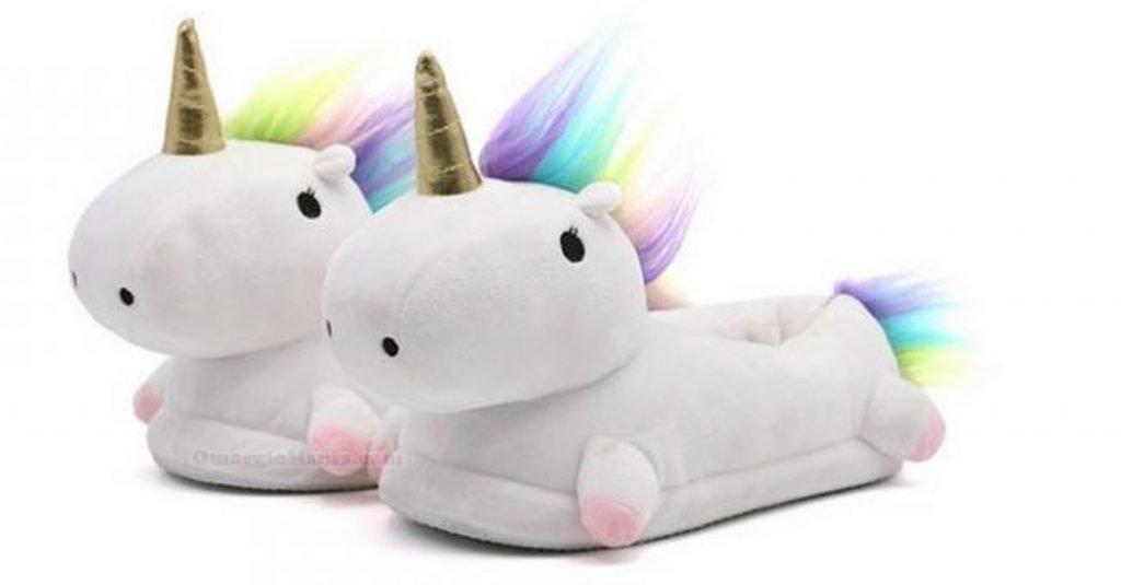 Foto delle pantofole unicorno
