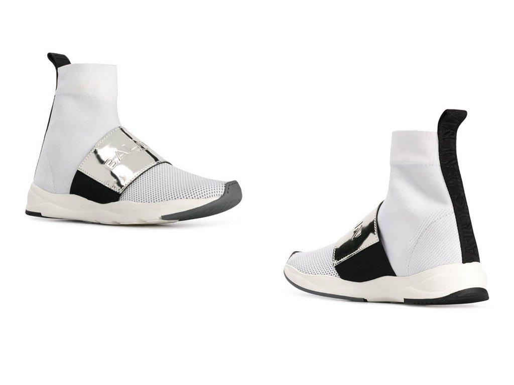 Foto delle sneakers 2019 Balmain in rete bianca con striscia argento