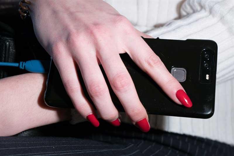 Foto della manicure rossa