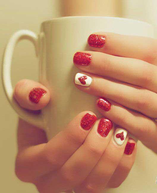 Foto di unghie glitter rosse