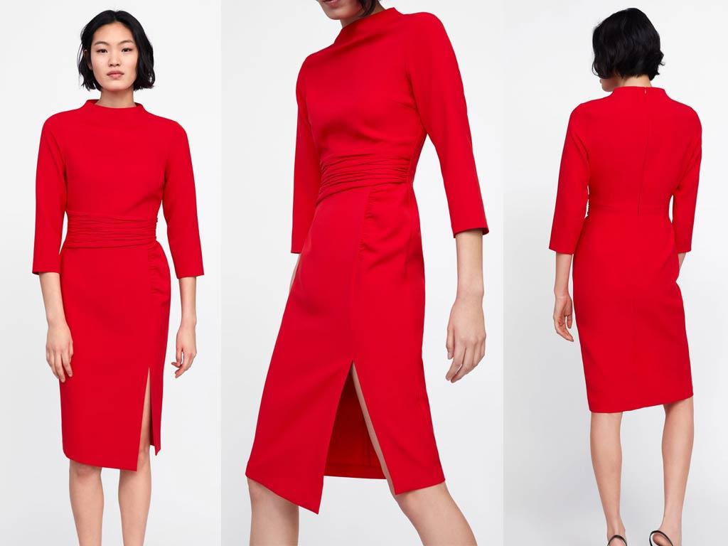 foto vestito drappeggiato rosso