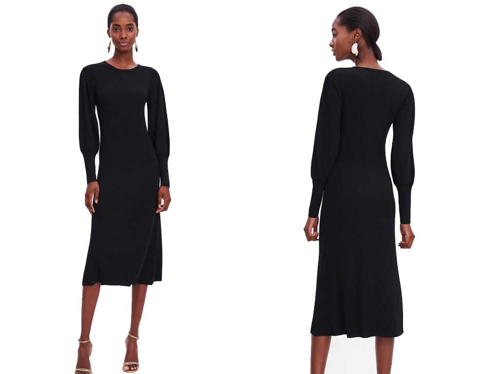 foto vestito nero con manica sbuffo