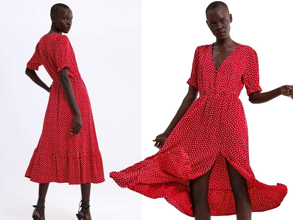 foto vestito pois rosso