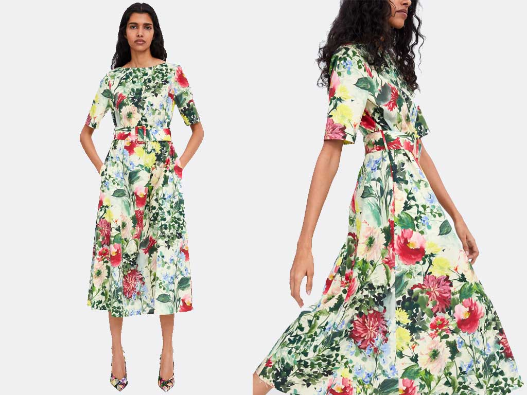foto vestito in stampa floreale tra i 10 vestiti di zara primavera 2019