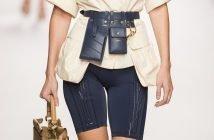 Foto di un modello di bike shorts di Fendi