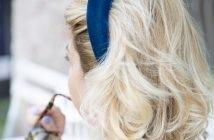 foto di cerchietto bombato velluto blu