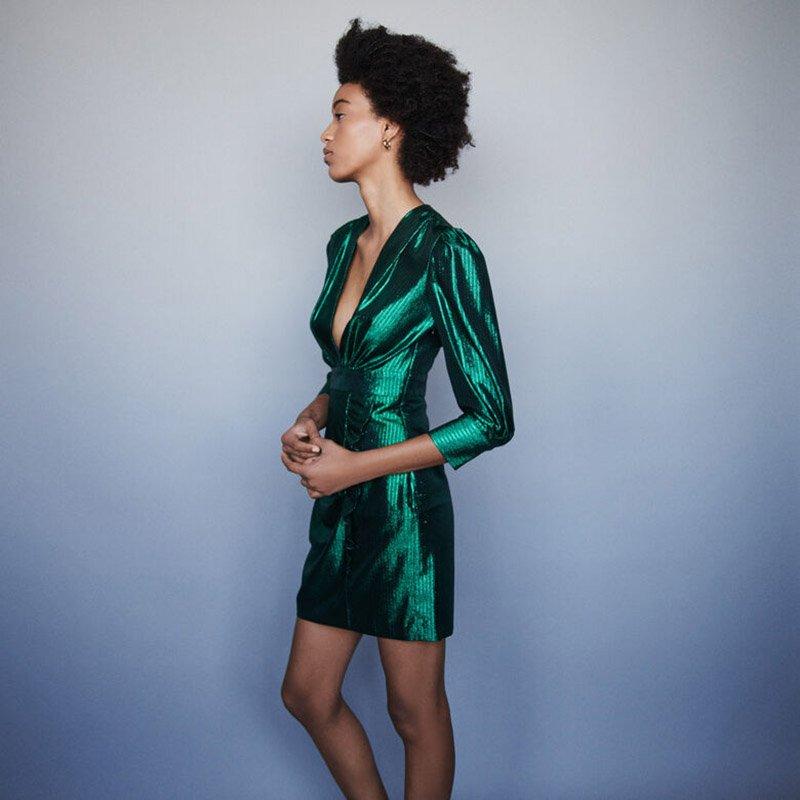 Foto di abito verde in lurex di Maje