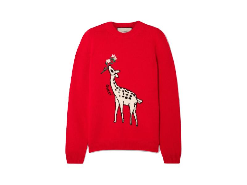 Foto del maglione con cerbiatto di Gucci