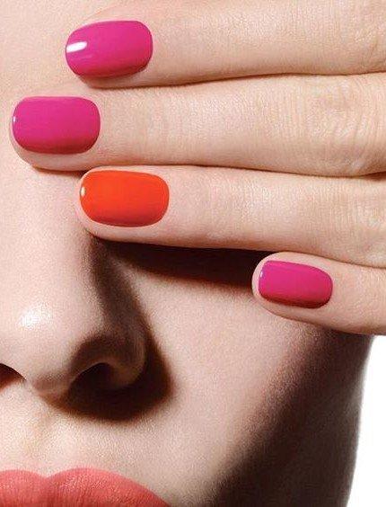 Smalto rosa e arancione