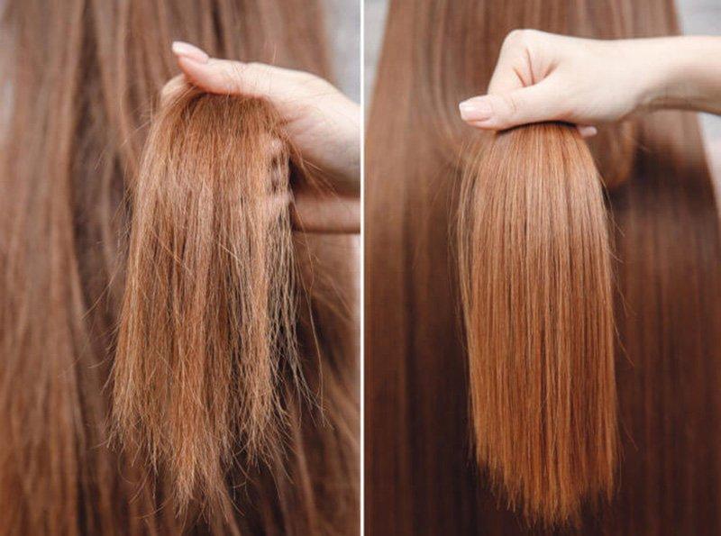 Foto del prima e dopo trattamento alla cheratina capelli