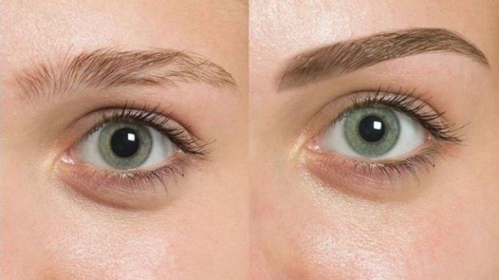 Foto del prima e dopo microblading sopracciglia