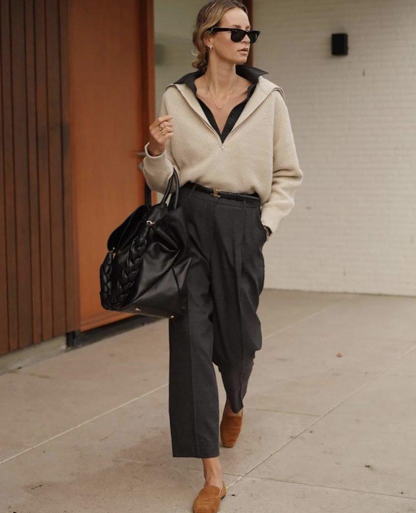 Foto di outfit con maglione beige